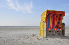 roofed wicker beach chair, north sea, amrum, schleswig-holstein, germany, eur - stock photo