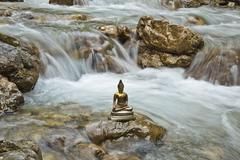 Bhumispara mudra, buddha gautama at the moment of enlightenment, statue in a  Stock Photos