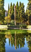 alhambra courtyard el partal garden pool reflection granada andalusia spain - stock photo