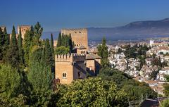 Alhambra castle towers cityscape churchs granada andalusia spain Stock Photos