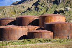 Whale oil tanks at the former whaling station of grytviken, king edward cove, Stock Photos