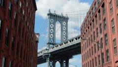 New York City Brooklyn Dumbo old buildings and bridge 4k - stock footage