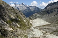 baechlisboden floodplain in baechlital valley, grimsel area, bernese alps, sw - stock photo