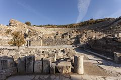overlooking the ancient amphitheatre in ephesus, ephesus, selcuk, turkey - stock photo