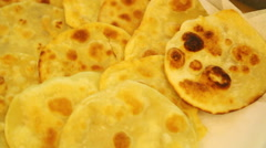 Row of fried chapati Stock Footage