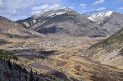 View of the silver mining town of silverton on the animas river as seen from  Stock Photos