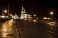 augustus bridge with the church of the royal court of saxony, hofkirche, nigh - stock photo
