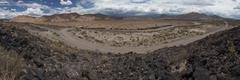 Panoramic view of the ruta 40 route through the arid argentine pampas in fron Stock Photos