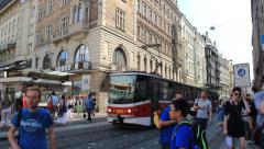 Asian boy lost in the big city. Busy Prague street, Czech Republic Stock Footage