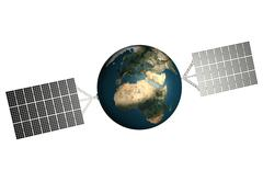 planet earth with solar panels attached to it, solar power, environmental tec - stock illustration
