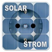 solar energy, solar power panels with outlet - stock photo