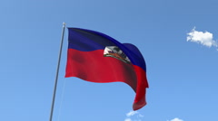 The flag of Haiti Waving on the Wind. Stock Footage