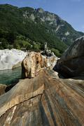 geological formation in lavertezzo by versasca, valle verzasca, canton ticino - stock photo