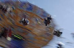 chairoplane or wave swinger in motion, auer dult folk festival, munich, upper - stock photo