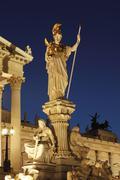 Pallas athena statue in front of the parlament parliament, vienna, austria, e Stock Photos