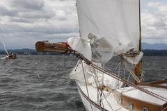 lake starnberg, traditional class regatta, only for wooden boats built before - stock photo