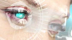 Eyes looking at holographic interface with binary code Stock Footage