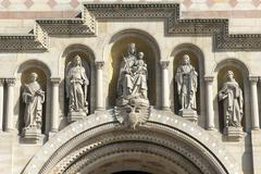 Speyer cathedral, west facade, patrons of the cathedral. v.l.n.r. archangel m Stock Photos