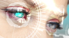 Eyes looking at holographic interface with binary code - stock footage