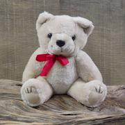 Old shabby chic teddy-bear is sitting on rustic wood - object for christmas d Stock Photos