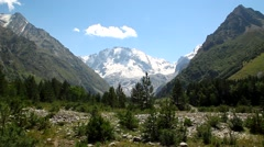 The view of the valley and the top of the Ulla-tau, the Caucasus, Europe - stock footage