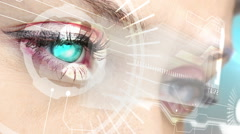 Eyes looking at holographic interface with business words Stock Footage