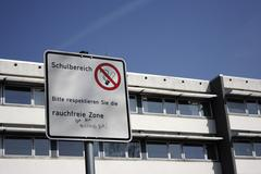 No-smoking-zone at the wieland secondary school in biberach an der riss, uppe Stock Photos