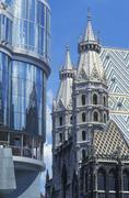Haas building and stephansdom cathedral, stephansplatz square, vienna, austri Stock Photos