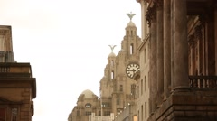 Liverpool Royal Liver building in the sun, UK, GB, England Stock Footage