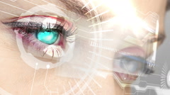Eyes looking at holographic interface with coding words - stock footage