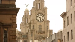 Liverpool Royal Liver building clock close up, GB, UK Stock Footage