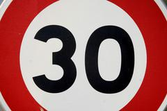 road sign, detail, 30 km/h maximum speed - stock photo