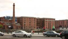 Liverpool Waterfront  Albert Dock in the magic hour Stock Footage