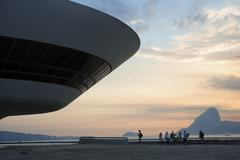 view of sugarloaf mountain and the niterói contemporary art museum, museo de - stock photo
