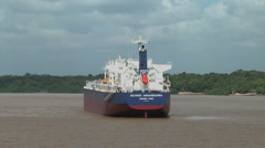 Amazon ship in river Stock Footage