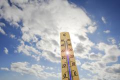 thermometer, 28 degrees celsius, heat day - stock photo