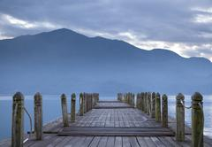 Look on pier and mountain in the morning Stock Photos