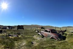vintage rusted car in bodie california - stock photo