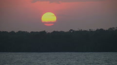 Amazon sunset from moving ship - stock footage
