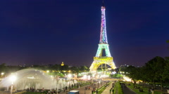 4K+ Eiffel Tower Rainbow Light Show Timelapse Stock Footage