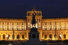 Stock Photo of hofburg imperial palace, heldenplatz heroes' square, equestrian statue of ar