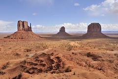 west mitten butte, eastern mitten butte and merrick butte, from left to right - stock photo