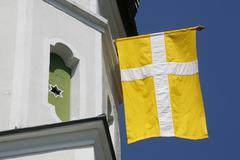 Stock Photo of flag, schimmelkapelle chapel, detail, ascholding, community dietramszell, dis