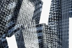 Multi-layered effect of skyscrapers - stock photo
