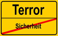 Stock Photo of sign city limits, symbolic image for turning away from security to terror