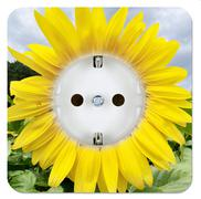 green power outlet in the form of a sunflower - stock illustration