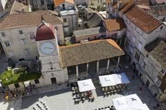 Loggia and the city hall bell tower, trogir, northern dalmatia, croatia, euro Stock Photos