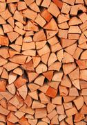 tree trunks in the woodshed of lumberjack - stock photo