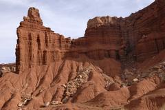 Stock Photo of chimney rock, red sandstone, highway 24, capitol reef national park, utah, us