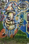 "Graffiti ""no brain - no pain"" Stock Photos"